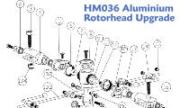 A detailed exploded view of the HM036 Aluminium RotorHead Upgrade