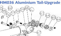 A detailed exploded view of the HM036 Aluminium Tail Upgrade